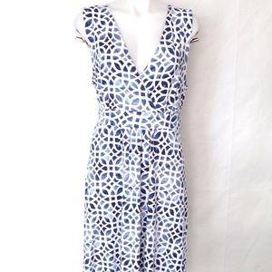 JM Collection Sleeveless Faux Wrap Batik Dress